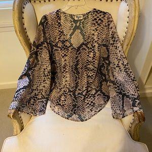 Show me your MuMu snake print long sleeve blouse